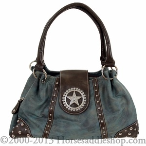 Nocona Blue Faux Leather w/ Star Concho & Rhinestones Handbag N7515827