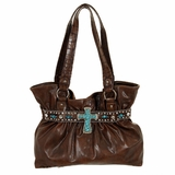 Nocona Brown Croc Print Hobo Bag with Turquoise Cross N7518602