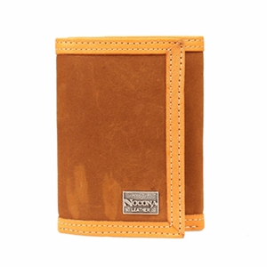 Nocona Double Stitched Brown Tri-Fold Wallet N5490044