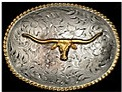 Nocona Gold Longhorn with Gold Rope Edge Belt Buckle 3757213
