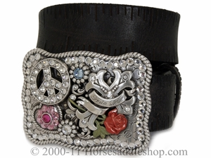 Nocona Ladie's Western Belt - Peace/Love Buckle n3482402