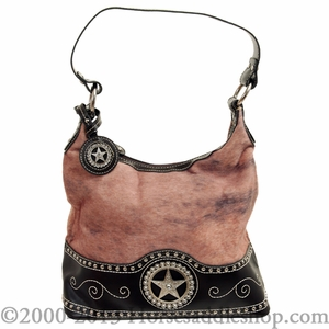 DISCONTINUED Nocona Ladies Brown and Faux Brindle with Star Concho Handbag N7514002