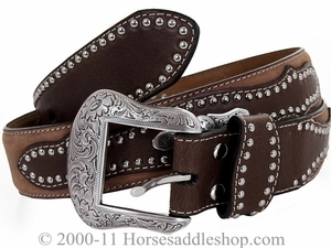 DISCONTINUED Nocona Men's Brown Belt with Silver Spots and Conchos 2483202