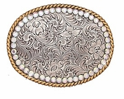 Nocona Oval Floral Rhinestones with Gold Rope Edge Belt Buckle 37530