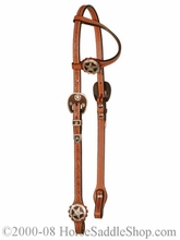 One Eared Slip Headstall Brown Iron Star by Circle Y y0162-3504