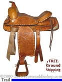 "PRICE REDUCED! 14"" Used Mexico Trail Saddle, Wide Tree uscu2515 *Free Shipping*"