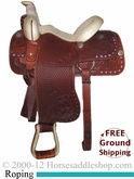 "PRICE REDUCED! 14"" Used R. E. Donaho Roping Saddle uscu2373 *Free Shipping*"