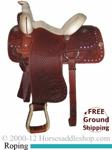 """NO LONGER AVAILABLE PRICE REDUCED! 14"""" Used R. E. Donaho Roping Saddle uscu2373 *Free Shipping*"""