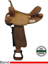 """PRICE REDUCED! 15"""" Used Big Horn Wide Barrel Saddle 732115R, Floor Model usbh3361 *Free Shipping*"""