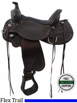 "SOLD 2016/04/19 PRICE REDUCED! 16"" Circle Y Clearwater Wide Flex2 Trail Saddle 2379, Floor Model uscy3410 *Free Shipping*"