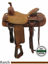 "PRICE REDUCED! 16"" Big Horn Medium Ranch Saddle 735406, Floor Model usbh3371 *Free Shipping*"