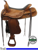 "PRICE REDUCED! 17"" American Saddlery Wide Trail Saddle 953, Floor Model usam3368 *Free Shipping*"