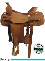 "PRICE REDUCED! 18"" Used Billy Cook Wide Roper Saddle 2082, Floor Model usbi3357 *Free Shipping*"