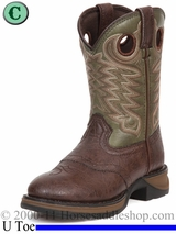 Rebel by Durango Boy's Dusk & Green Saddle Western Boot bt206 Size 8.5 - 3