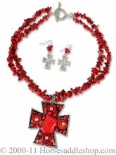 Red Stone Western Jewelry Set Earrings and Necklace 2980004
