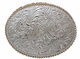 Silver Leaf Scroll Belt Buckle by Crumrine C01874