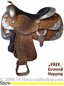 "SOLD 2012/10/31 $8500  16"" Used Phil Harris Custom Made Show Saddle with TACK usph1841 *Free Shipping*"