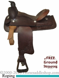 "SOLD 2014/04/12 $250 PRICE REDUCED! 15"" Used Triangle T Roping Saddle ustr2512 *Free Shipping*"