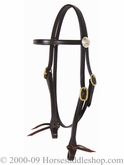 Tucker Logo Trail Headstall 555 Black Brown Golden