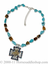 DISCONTINUED Turquoise Necklace with Bronc Pendant 29854