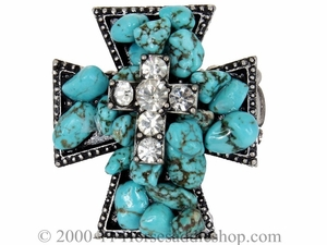 Turquoise Ring with Sparkling Rhinestones 29145