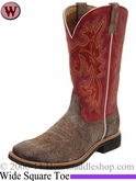 "Twisted X Women's 11"" Top Hand NWS Toe Boot Distressed Coffee & Red wth0002"