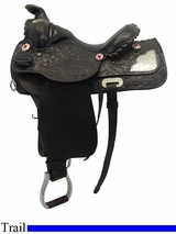 "Used 13.5"" Unknown Custom Medium Trail Saddle usun3298 *Free Shipping*"