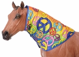 Waterproof Neck Cover in Rainbow Peace, Med/Heavy