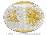 Western Belt Buckle: Montana Silversmiths Feather & Horse 61468-463M