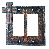 Western Moments Cross Double Switch Plate 94307