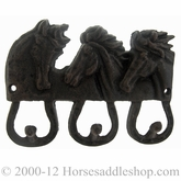 Western Moments Triple Horsehead Wall Mount Coat Hook 94770