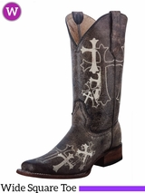 Women's Circle G by Corral Brown & Beige Side Cross Embroidery Boots L5042
