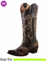 Women's Circle G by Corral Distressed Green Beige Filigree Boots L5133