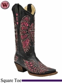 Women's Corral Black & Pink Winged Cross Boots With Studs & Crystals A1049