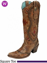 Women's Corral Cognac/ Multicolor Ethnic Pattern & Whip Stitch Boots C2872
