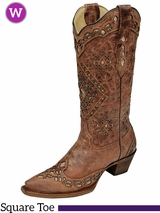 Women's Corral Cognac/ Sand Glitter Inlay Boots A2948