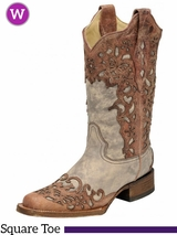 Women's Corral Sand/ Cognac Laser Overlay Square Toe Boots A2870