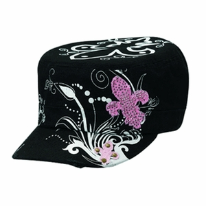 Womens Black, White, & Pink Fleur de Lis Military Hat 1502401
