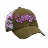 Womens Brown/Pink Camo Mesh Rhinestone Cowgirl Hat 1594802