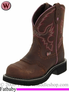 Womens Pink Justin Cowgirl Boot with Steel Toe 9980