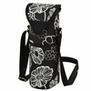 Night Bloom Black Floral Wine Bottle Tote and Single Bottle Carrier