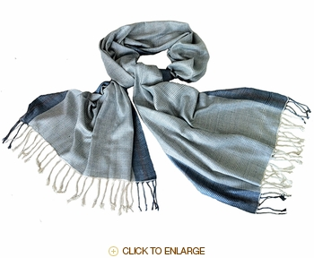 Avani Wild Silk Shawl in Soft Blue Stripes