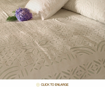 Barmer Applique Queen Bedspread - White on White