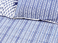 Tilonia Home: King Duvet Set - Centipede Stripe & Sprig in Blueberry