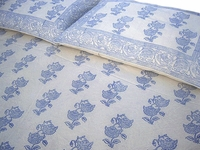 Tilonia Home: Queen Duvet Set - Blueberry & White Floral