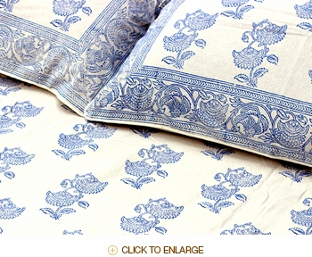 Tilonia Home: Twin Duvet Set - Blueberry & White Floral