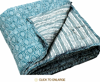 Tilonia Home: Twin Quilt - Mod Pod & Centipede Stripe in Teal