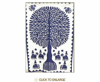 """Tilonia® Wall Hanging - Tree of Life Applique in Blue - 24"""" x 36"""""""