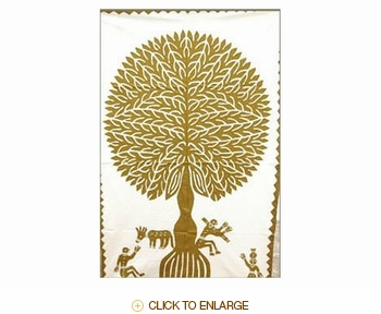 "Tilonia® Wall Hanging - Tree of Life Applique in Gold - 32"" x 52"""