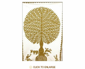 "Tilonia® Wall Hanging - Tree of Life Applique in Gold - 24"" x 36"""